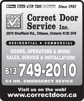 Correct Door Service Inc (613-778-8869) - Display Ad