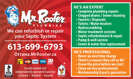 Mr Rooter Plumbing (613-699-6793) - Annonce illustr&eacute;e