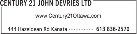 Century 21 John DeVries Ltd (613-836-2570) - Display Ad - www.Century21Ottawa.com