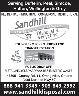 Sandhill Disposal & Recycling Inc. (1-877-461-4255) - Annonce illustrée