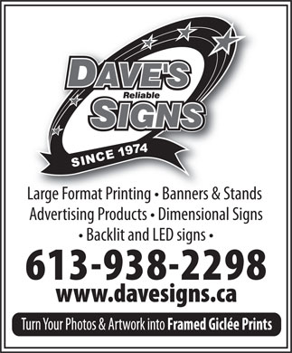 Dave's Reliable Signs Ltd (613-938-2298) - Annonce illustrée