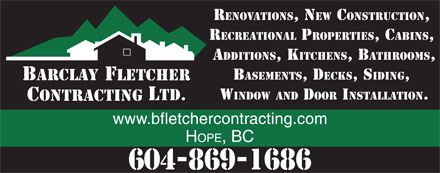 Barclay Fletcher Contracting (604-869-1686) - Annonce illustrée