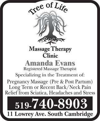 Tree Of Life Massage Therapy Clinic (519-740-8903) - Annonce illustrée