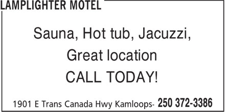 Lamplighter Motel (250-372-3386) - Annonce illustrée - Sauna, Hot tub, Jacuzzi, Great location CALL TODAY!