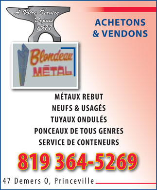 Blondeau M&eacute;tal Inc (819-364-5269) - Display Ad