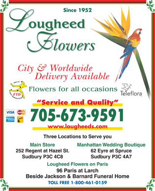 Lougheed Flowers (705-673-9591) - Display Ad - Since 1952Since 1952 City & Worldwide Delivery Available Flowers for all occasions Service and Quality 705-673-9591 www.lougheeds.com Three Locations to Serve you Main Store Manhattan Wedding Boutique 252 Regent at Hazel St. 62 Eyre at Spruce Sudbury P3C 4C8 Sudbury P3C 4A7 Lougheed Flowers on Paris 96 Paris at Larch Beside Jackson & Barnard Funeral Home TOLL FREE 1-800-461-0159