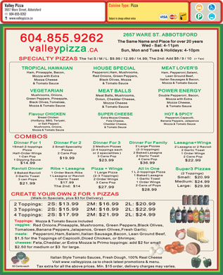 Valley Pizza (604-855-9262) - Menu