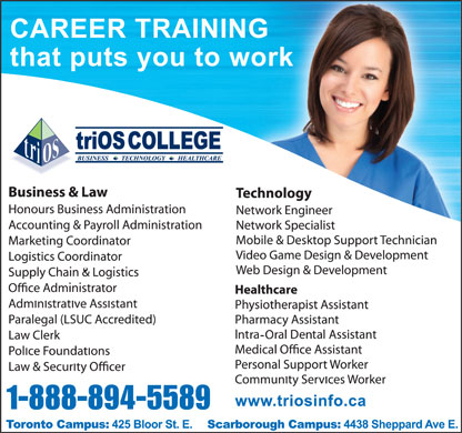 triOS College Business Technology Healthcare (1-877-739-6172) - Display Ad