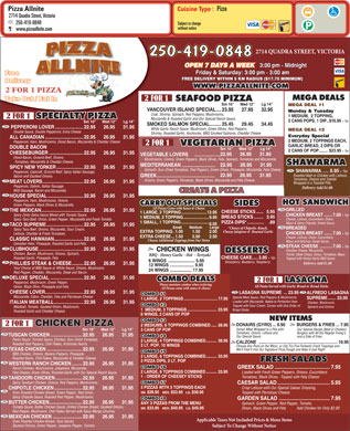 Pizza Allnite (250-382-9991) - Menu