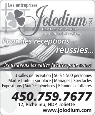 Jolodium Inc (Les Entreprises) (450-759-7677) - Display Ad
