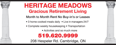 Heritage Meadows (519-620-9999) - Display Ad