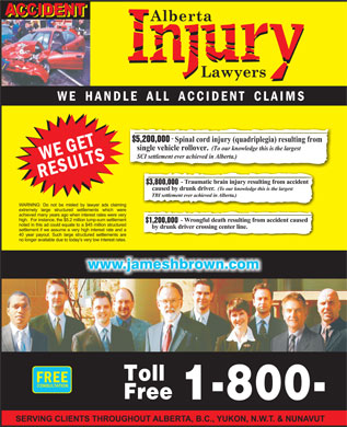 Alberta Injury Lawyers (1-800-616-0088) - Annonce illustrée