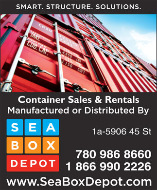 Seabox Depot (780-986-8660) - Display Ad - Container Sales & Rentals 1a-5906 45 St 780 986 8660 1 866 990 2226