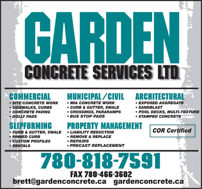 Garden Concrete Services Ltd (780-818-7591) - Annonce illustrée - REPAIRS PRECAST REPLACEMENT FAX 780-466-3602 BUS STOP PADS BUS STOP PADS REPAIRS PRECAST REPLACEMENT FAX 780-466-3602
