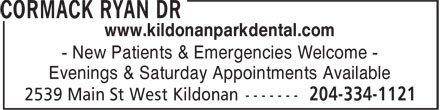 Kildonan Park Dental Centre (204-515-1547) - Annonce illustrée - www.kildonanparkdental.com - New Patients & Emergencies Welcome - Evenings & Saturday Appointments Available  www.kildonanparkdental.com - New Patients & Emergencies Welcome - Evenings & Saturday Appointments Available