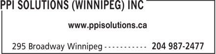 PPI Solutions (Winnipeg) Inc (204-987-2477) - Annonce illustrée - www.ppisolutions.ca www.ppisolutions.ca