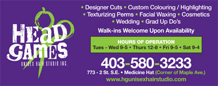 Headgames Unisex Hair Studio Inc (403-580-3233) - Annonce illustrée