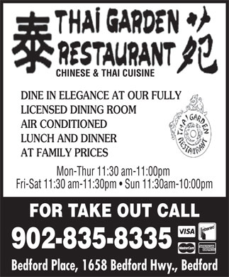 Thai Garden Restaurant (902-835-8335) - Display Ad