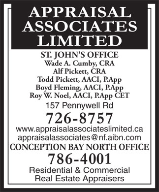 Appraisal Associates Limited (709-726-8757) - Display Ad