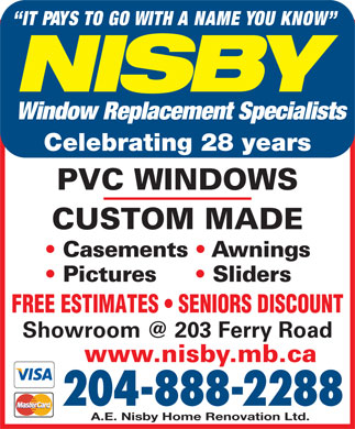 Nisby Home Renovations Ltd (204-888-2288) - Annonce illustr&eacute;e