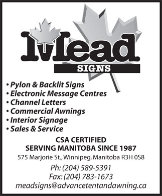 Mead Signs (204-589-5391) - Display Ad