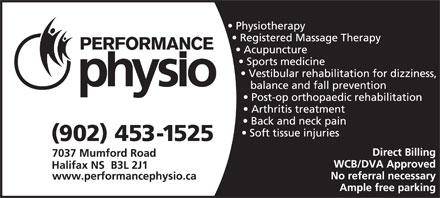 Performance Physiotherapy Ltd (902-453-1525) - Annonce illustrée