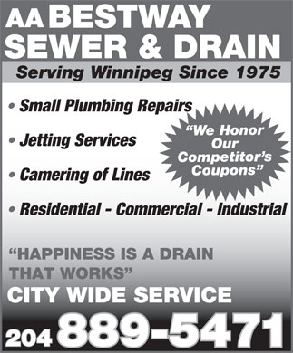 Bestway Sewer & Drain Service (204-889-5471) - Display Ad