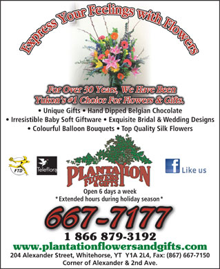 Plantation Flowers & Gifts (867-667-7177) - Annonce illustrée - Unique Gifts   Hand Dipped Belgian Chocolate Irresistible Baby Soft Giftware   Exquisite Bridal & Wedding Designs Colourful Balloon Bouquets   Top Quality Silk Flowers Open 6 days a week * Extended hours during holiday season * 667-7177 1 866 879-31921 866 879-3192 www.plantationflowersandgifts.com.plantationflowersandgifts.c 204 Alexander Street, Whitehorse, YT  Y1A 2L4, Fax: (867) 667-7150 Corner of Alexander & 2nd Ave.