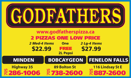 Godfathers Pizza (705-286-1006) - Display Ad