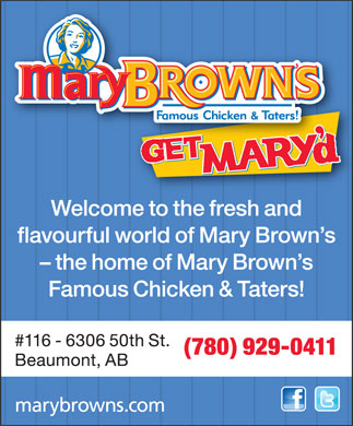 Mary Brown's Famous Chicken & Taters (780-929-0411) - Annonce illustrée