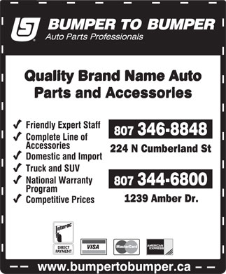 Bumper To Bumper-Auto Parts Central (807-344-6800) - Display Ad