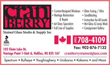 Cranberry Stained Glass Studio & Supply Inc (902-876-5167) - Display Ad - 708-4109 102 Chain Lake Dr. Vantage Point 1-Unit A, Halifax, NS B3S 1A7