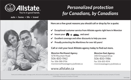Allstate Insurance Company of Canada (506-859-8894) - Annonce illustrée