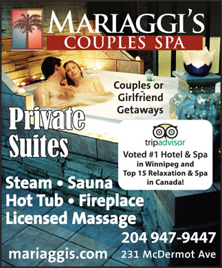 Mariaggi's Couples Spa (204-947-9447) - Display Ad - 204 947-9447 204 947-9447