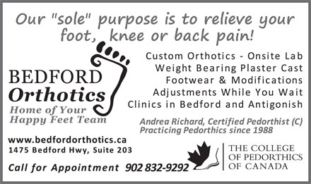 Bedford Orthotics Ltd (902-832-9292) - Display Ad - 902 832-9292