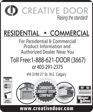 Creative Door Services Ltd (1-888-621-3667) - Display Ad