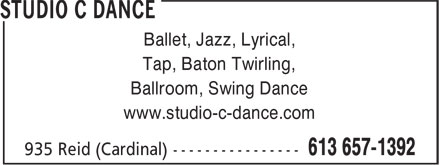 Studio C Dance (613-657-1392) - Annonce illustrée - Ballet, Jazz, Lyrical, Tap, Baton Twirling, Ballroom, Swing Dance www.studio-c-dance.com