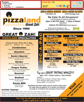 Pizzaland (204-336-3333) - Menu