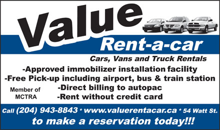 Value Rent-A-Car (204-943-8843) - Annonce illustrée