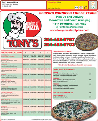 Tony's Master Of Pizza (204-452-9797) - Menu