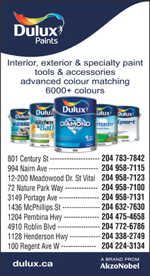 Dulux Paints (204-783-7842) - Annonce illustr&eacute;e