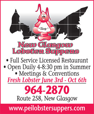 New Glasgow Lobster Supper (902-964-2870) - Annonce illustr&eacute;e