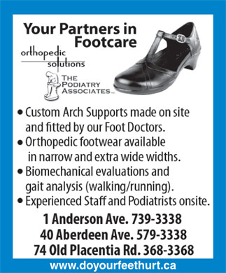 The Podiatry Associates (709-739-3338) - Annonce illustrée - www.doyourfeethurt.ca  www.doyourfeethurt.ca
