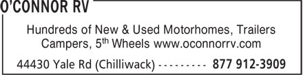 O'Connor RV (604-792-2747) - Annonce illustrée======= - Hundreds of New & Used Motorhomes, Trailers - Campers, 5 th Wheels www.oconnorrv.com