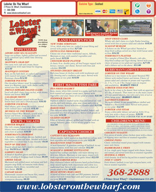 Lobster On The Wharf Restaurant (902-368-2888) - Menu