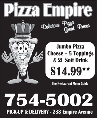 Pizza Empire (709-754-5002) - Annonce illustr&eacute;e