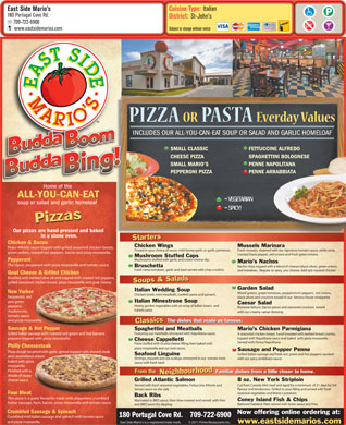 East Side Marios (709-722-6900) - Menu