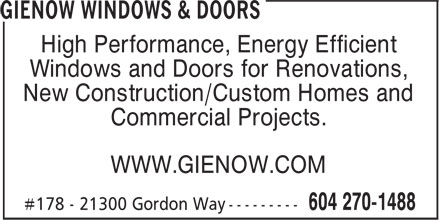 Gienow Windows & Doors (604-270-1488) - Display Ad - High Performance, Energy Efficient Windows and Doors for Renovations, New Construction/Custom Homes and Commercial Projects. WWW.GIENOW.COM