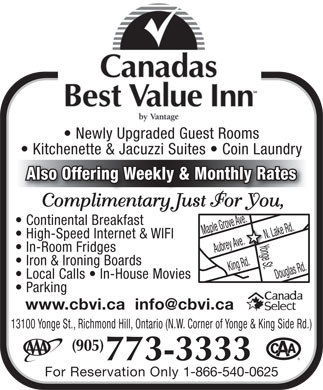 Canadas Best Value Inn (905-773-3333) - Display Ad