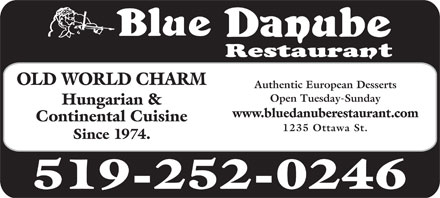 Blue Danube Restaurant & Lounge (519-252-0246) - Display Ad
